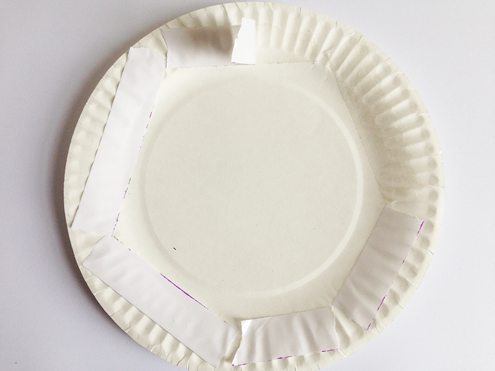 Stick double sided tape around the inside edges of one plate. Peel off the tape backing.