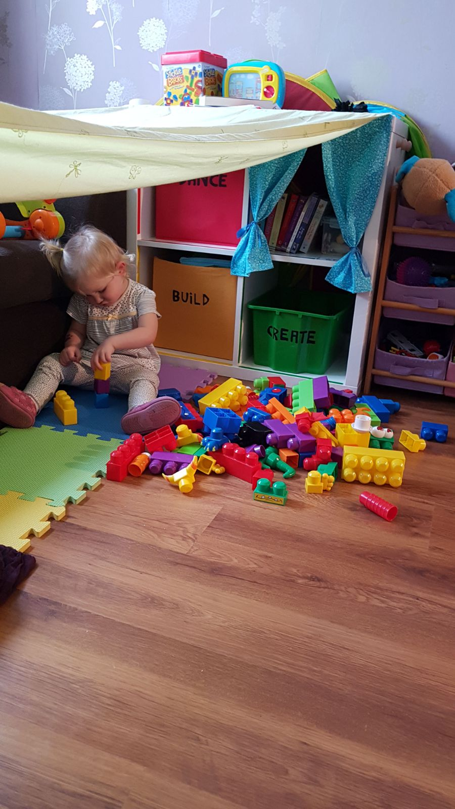 Amber creating her masterpiece in her den