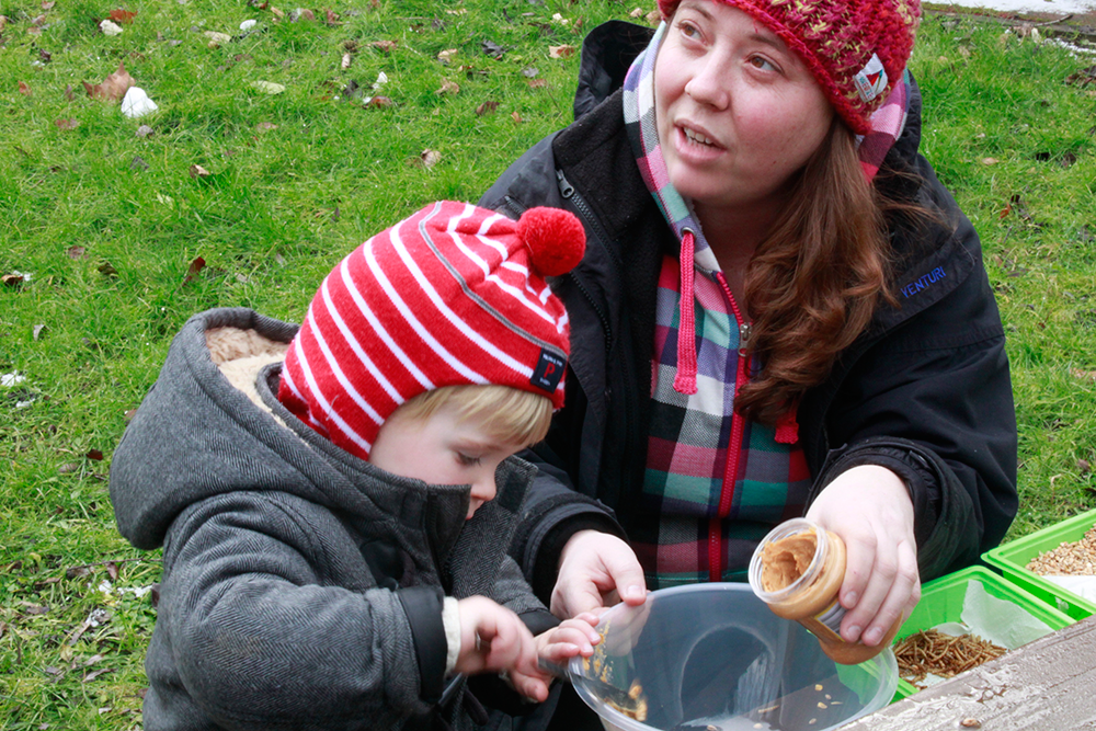 OUTSIDE: Making lunch for the birds